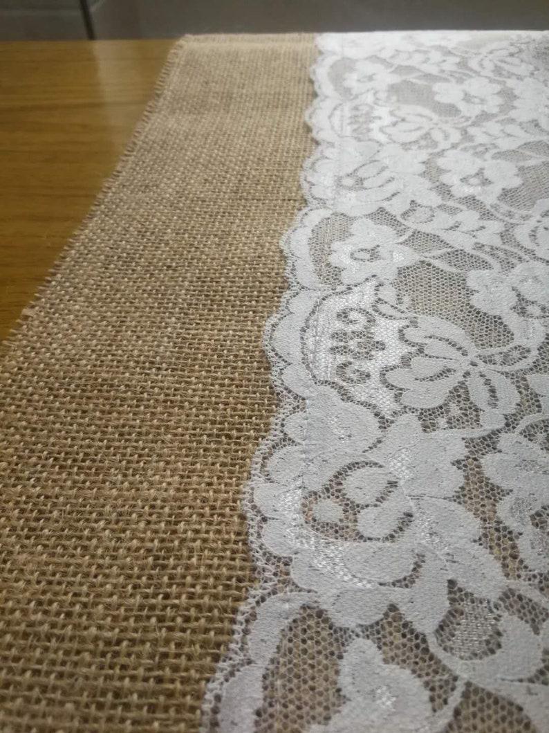 White lace Table Runner,Burlap Table Runner,Holiday Table Runner Wedding