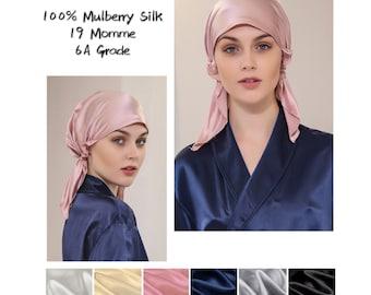 100% Pure Mulberry Silk Night Hat, Handmade 19/22 Momme Luxury Sleeping Bonnet Cap/Top Grade (6A) Silk Hair Wrap