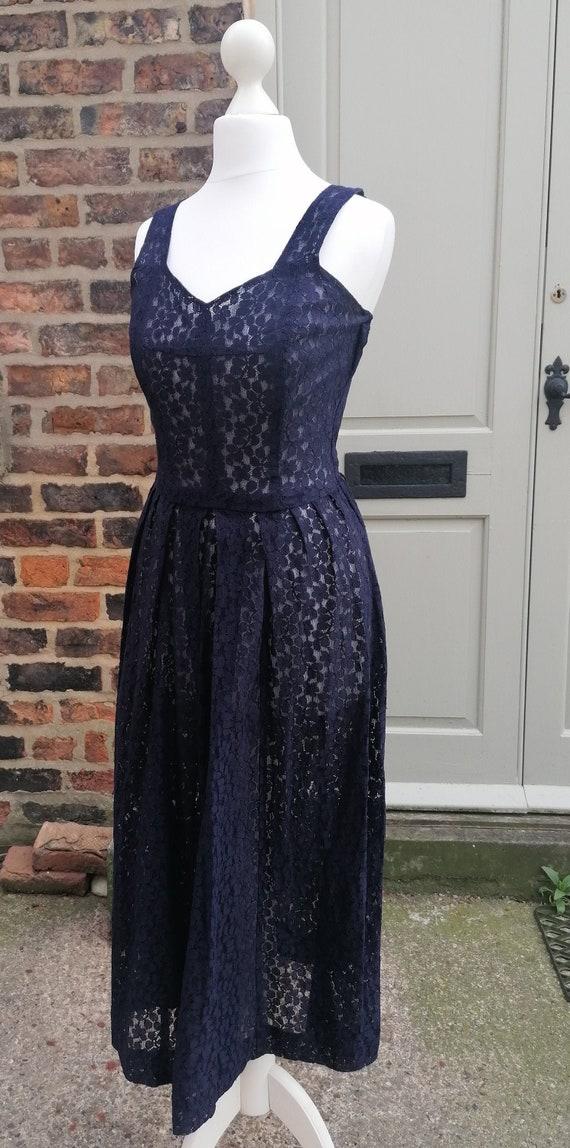 Vintage 1940's Midnight Blue Lace Dress