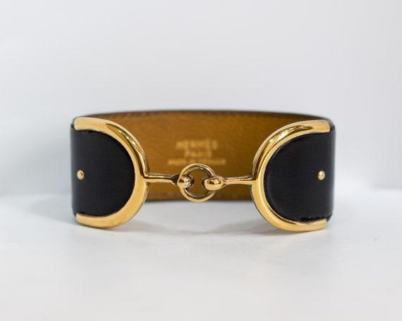 1977 Hermes Deux Eperons Black Leather Bracelet -