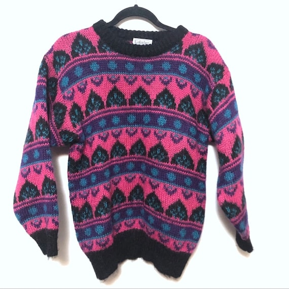 Vintage neon sweater pink teal purple