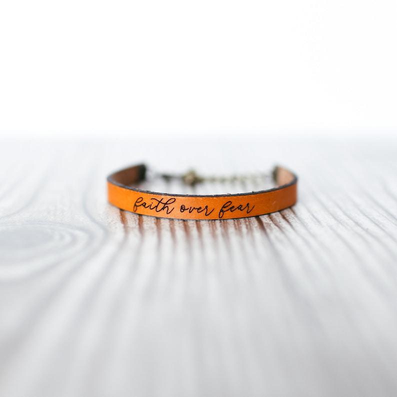 Faith Over Fear Bracelet  Scripture Bracelet  Gift for Her  image 0