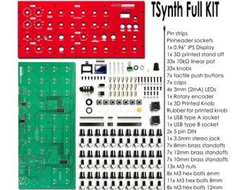 DIY 12 notes polyphonic ElectroTechnique TSynth V1.3 : PCB + panel + parts (without enclosure & Teensy)