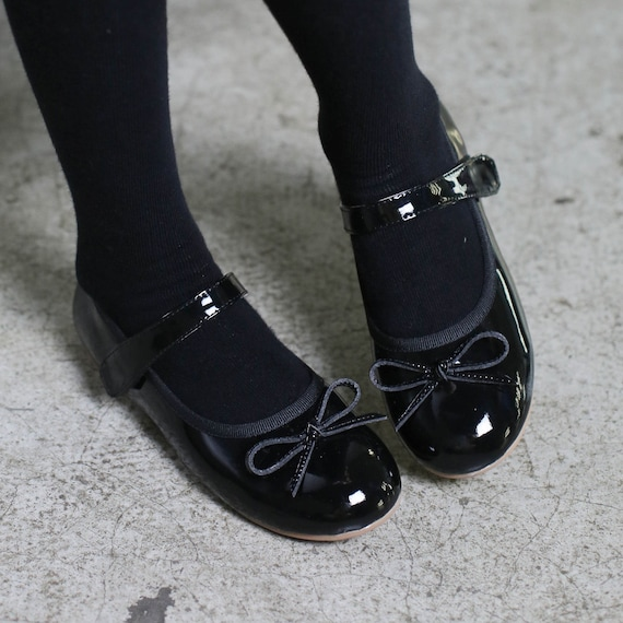 Black girls patent leather shoes blue