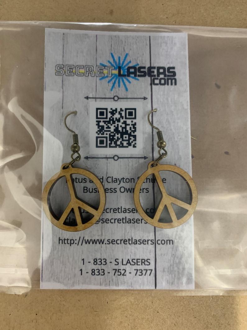 PEACE Wood Earrings