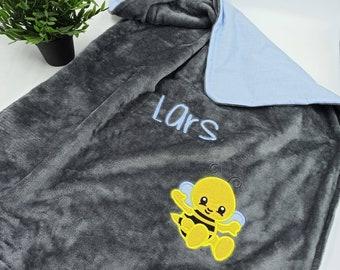 Baby blanket embroidered with name, crawling blanket, stroller blanket, fleece blanket, Customizable