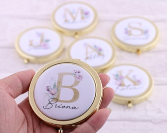 Compact mirror Monogram Round compact Mirror and pouch Personalised