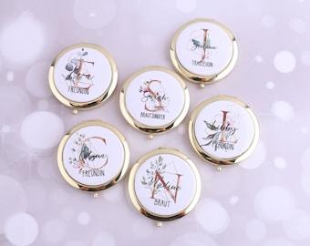 Personalisierter Taschenspiegel Klappbar Gold Silber Handspiegel mit Name mit 2X Vergrößerung Brautjungfern Blumenmädchen Geschenk Initialen