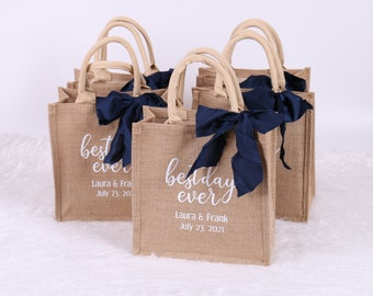 Personalized Burlap Tote - Best Day Ever Wedding Welcome Bag Beach Jute Gift Favor Bridesmaid Bachelorette Sleepover Birthday Party Bag