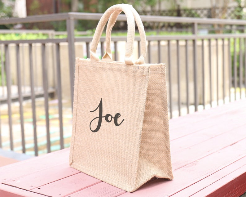 Personalized Bridesmaid Burlap Tote Bag Beach Large Jute Gift Bag Name Bachelorette Bridal Shower Party Favor Rustic Chic Wedding Welcome
