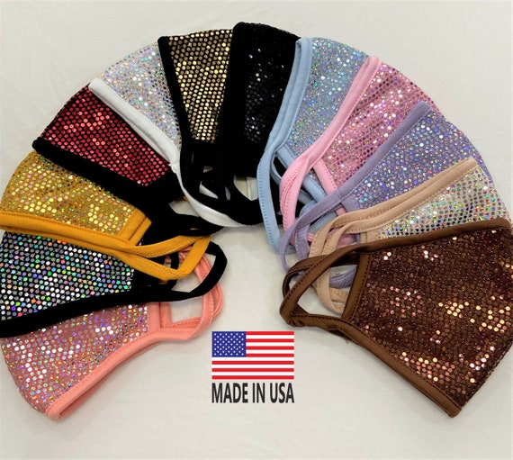 Sequins Bling *3D Face Mask*Filter Pocket**Soft Cotton Fabric**Hand made/Made in USA/Washable double/layered Reusable