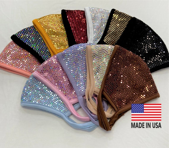 Bling Bling 3D Face Mask*Filter Pocket*Soft Cotton Fabric*Hand made/Made in USA/Washable double/layered Reusable