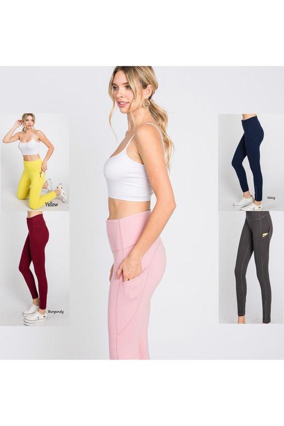Women's Premium Activity Leggings  W/Pockets Women's High Waist Soft Yoga Pants / Work out 7/8 Length Leggings