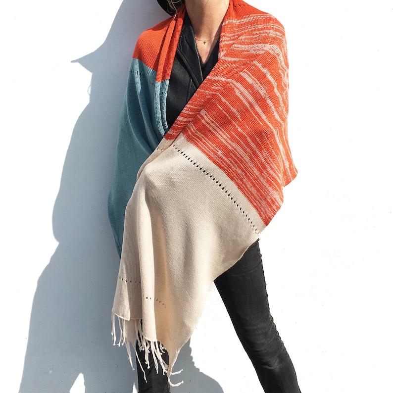 Wool Wrap Scarf Cream Warm Soft fine Merino wool eco wool Large Scarf loose fit extra large Wool Knit Scarf Orange Blue