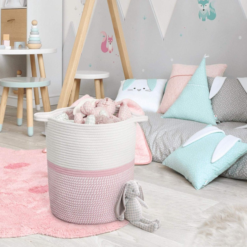 Large Woven Jute Rope Laundry Basket Natural Storage Planter Pot Plant Laundry Hamper Picnic Handles Gift Tall Soft White Pink Girl Baby Toy