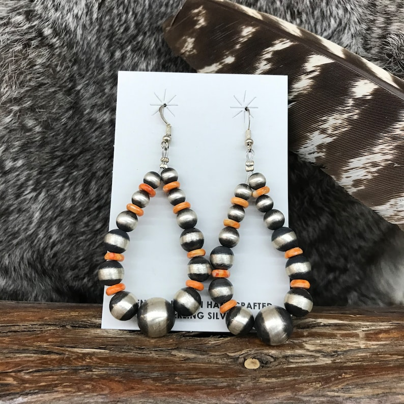 Navajo Pearl Sterling Silver and Spiny Oyster Earrings