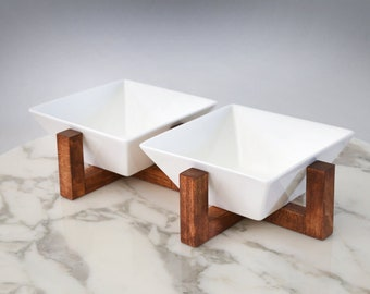 Mid Century Modern Dog Cat & Pet Bowl Feeding Station with Stand | Raised Elevated Feeder | Square Water Bowls Dish Set