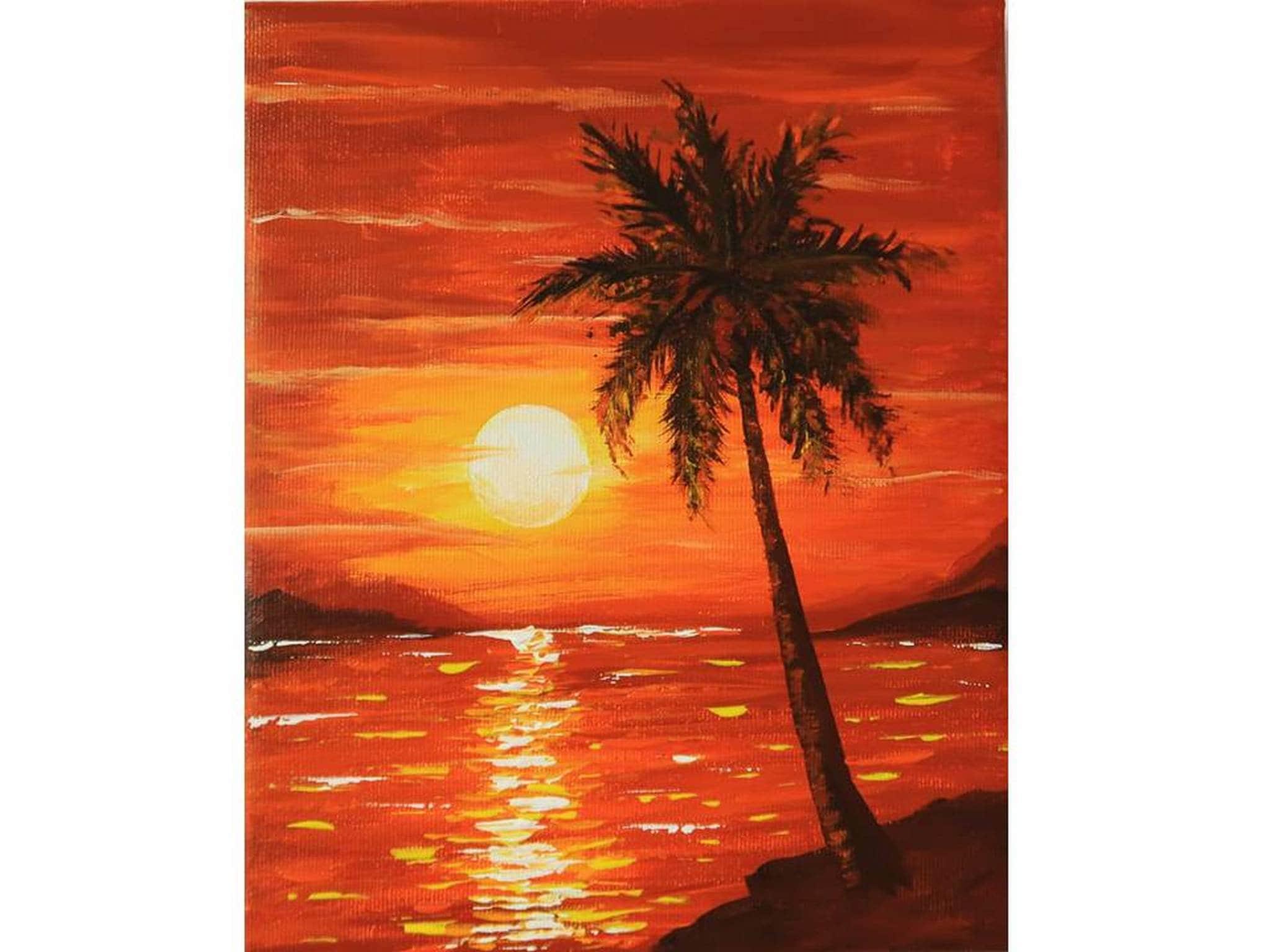 Hawaii Painting Seascape Original Art Palm Trees National Park Sunset Acrylic Painting Ocean Art by Julia Datta