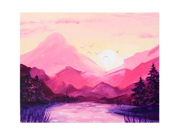 Glacier National Park Original Painting on Canvas Sunset Mountain Wall Art Hiking Landscape Above Bed Art 8 by 10 in by Julia Datta