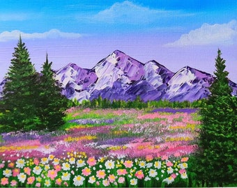 Glacier National Park Painting Mountain Wall Art Hiking Landscape Travel Original Art Impasto Acrylic Small Painting 8 by 10 by Julia Datta