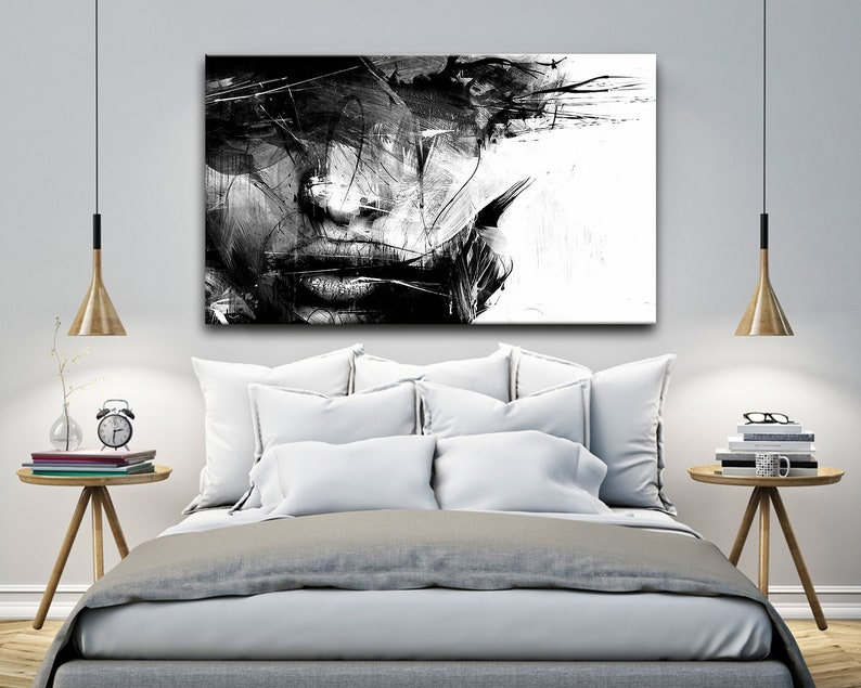 Various Sizes Picture Wall Art Decoration Abstract Black and White Female Face Canvas Wall Art Framed Print