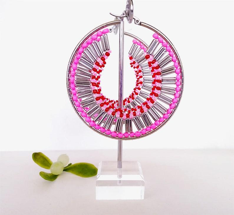Pink Earrings Hoop Earrings Silver Hoop Earrings Woven Earrings Large Hoop Earrings Beaded Earrings