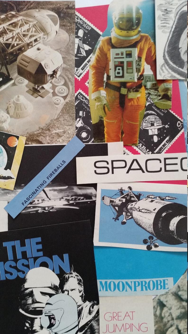 Scrap paper kit Scrapbook Astronaut Galaxy Junk Journal A Collage Celestial Moon Space Vintage Ephemera