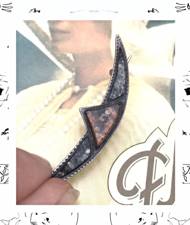Crescent Moon silver Brooch 1930s