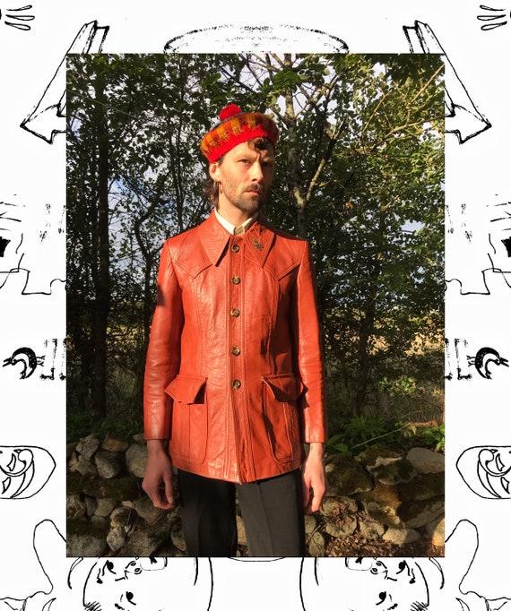 70s Orange Leather Jacket