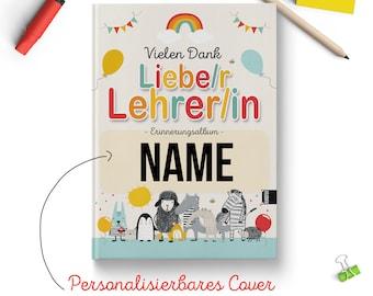 Personalisiertes Erinnerungsbuch für Lehrer oder Lehrerin Schule / Grundschule - Platz für 34 Kinder und Gruppenfotos - Abschiedsgeschenk
