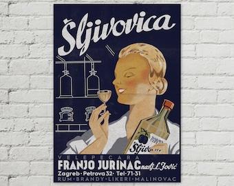 Sljivovica Vintage Yugoslavia Poster 50x70cm