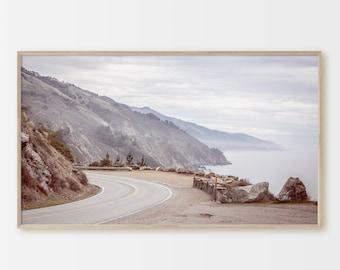 Samsung Frame TV Art, Big Sur, Pastel Beach Cliffs, Highway 1, Road Trip, Instant Download, California Coast