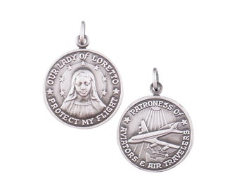 22mm x 18mm Solid 925 Sterling Silver Vintage Antiqued Our Lady of Loreto Pendant Charm Medal