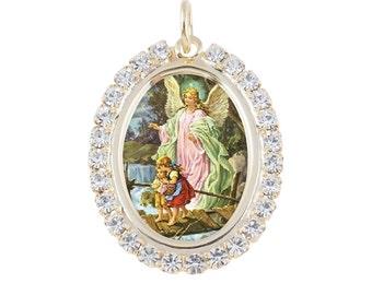 Austrian Crystal Guardian Angel on the Bridge Photo Religious Pendant Medal Necklace