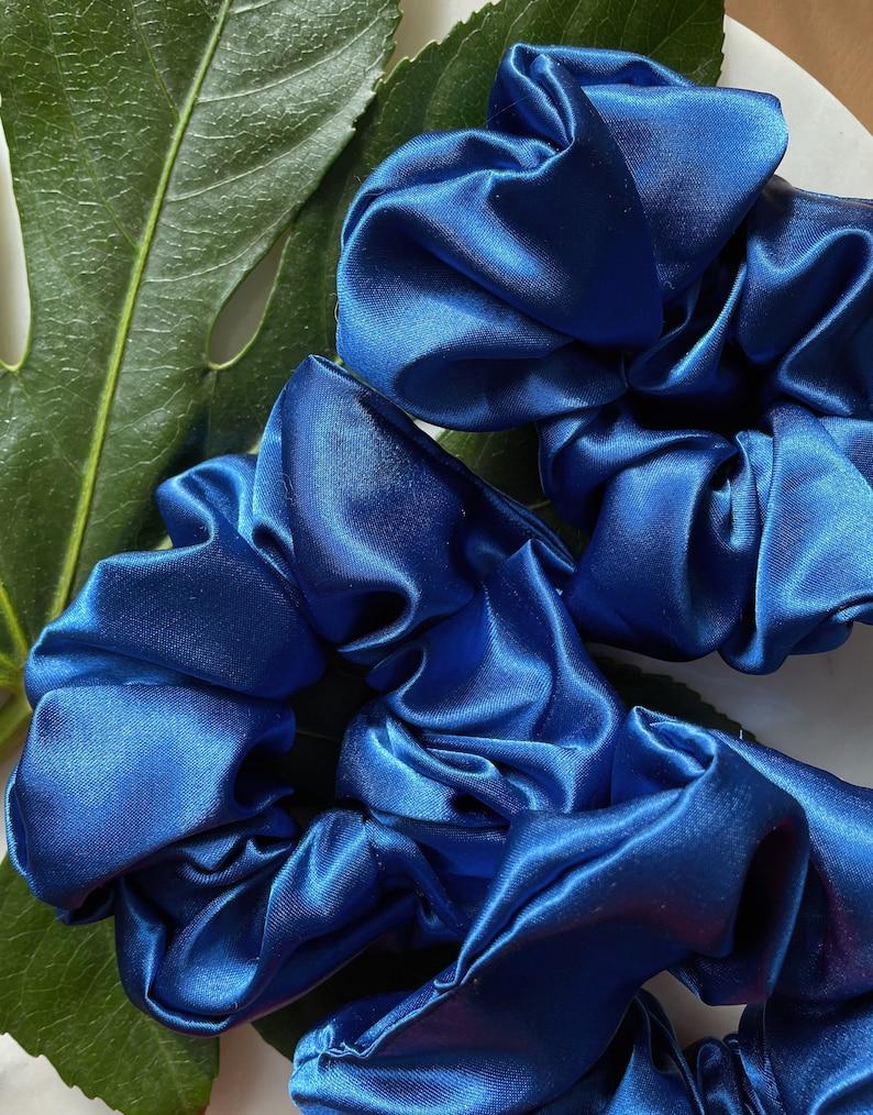 Small Scrunchie Oversized Satin Royal Blue Satin Scrunchie ThinShort Hair Oversized Scrunchie Royal Blue
