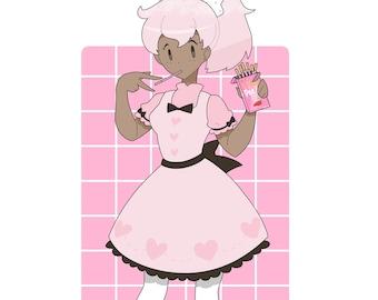 Strawberry Pocky Art Print -- A5