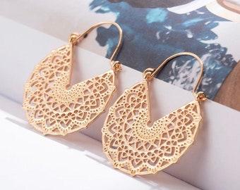 Gold Bohemian Filigree Hoop Earrings