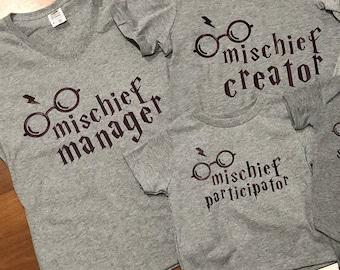 Mischief crew matching shirts; Mischief family shirts