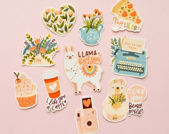 A set of Cute love stickers / First love stickers  (10 stickers total)