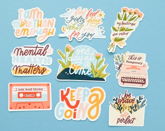 A set of Mental health stickers / Feelings matter (9 stickers total)