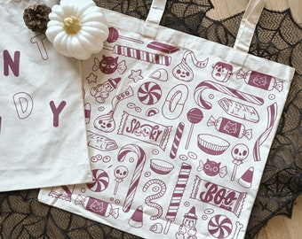 I WANT CANDY canvas tote bag & 6 Halloween Trick or Treat stickers