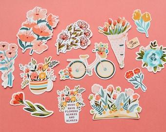 Flower Garden stickers / Bouquet of flowers stickers / Flowers for you / Must have flowers  (12 stickers total)