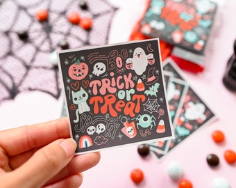 6 Trick or Treat stickers Halloween stickers