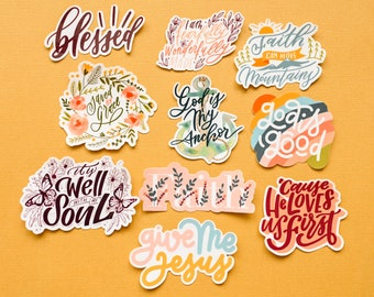 A set of bible stickers/ Christian stickers (10 stickers total) or select individual sticker!