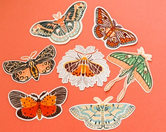 A set of butterfly/moth stickers (Total of 7 stickers)