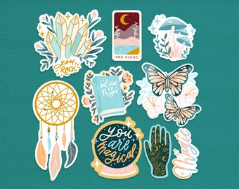 Mystical night stickers / Believe in magic stickers (9 stickers total)