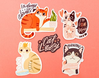 Crazy Cat lady set (5 stickers) / Cat lovers / Cute Kitty stickers