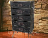 Industrial Side Cabinet Vintage Retro Storage Furniture Rustic Metal Chest 5 Large Drawers Urban Style Sideboard Drawer Table Unit