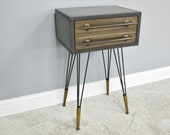 Industrial Side Table Metal Bedside Cabinet 2 Drawers Vintage Console Table Nightstand Side Cabinet Plant Lamp Stand