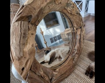 Rustic Decorative Wall Mirror Solid Teak Wooden Retro Round Wooden Framed Handmade Shabby Rustic Unique Craft Country Farmhouse Mirrors